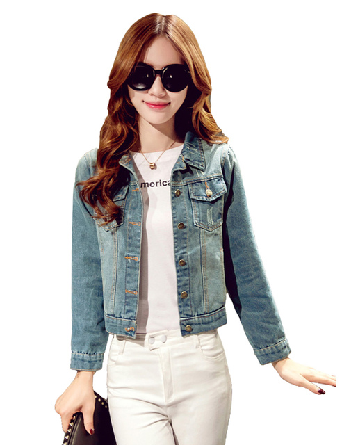 34a0ff089 Fashion Women Denim Jacket Pockets Long Sleeve Buttons Frayed Jeans Jacket  Casual Slim Short Outerwear Autumn Ladies Short Coat-in Basic Jackets from  ...