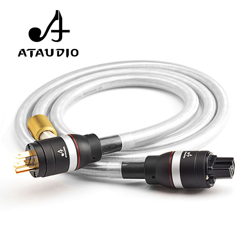 ATAUDIO Hifi Silver and Copper Power Cable High Quality Powr Cord with Gold-plated US Plug