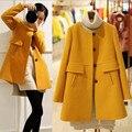 Nueva capa de lana de invierno de maternidad embarazadas las mujeres embarazadas de moda de Corea suelta en el largo abrigo de invierno las mujeres embarazadas
