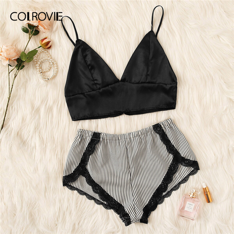 COLROVIE Black And White Lace Trim Striped Lingerie Set Women Sexy Pajamas 2019 Summer Sleeveless Top And Briefs Sleepwear
