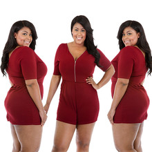 New hot fashion style big size lotus middle-aged women fat MM sexy high waist zipper jumpsuit