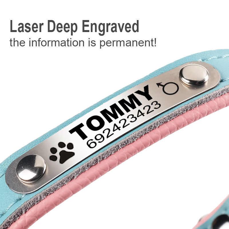 FLOWGOGO анти-потерянный персонализированный Выгравированный ошейник для собак плетеный на заказ кожаный ошейник для щенков и кошек ID бирка для маленьких средних собак