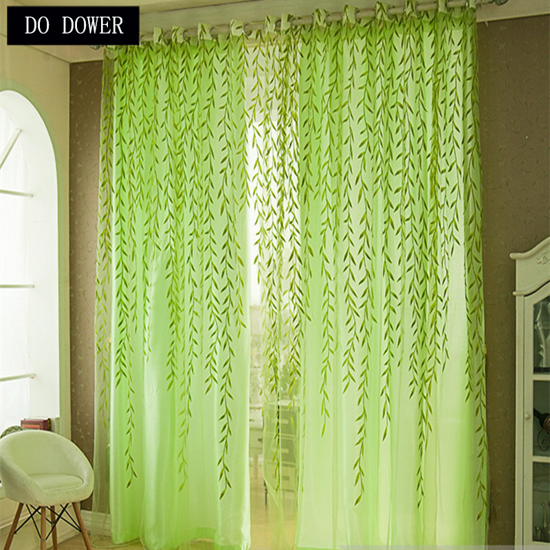 44 Blue Curtain Designs Living Room Sheer Curtain Ideas: 1Pcs Green Willow Pattern Tulle Curtains Sheer 1Mx2M For
