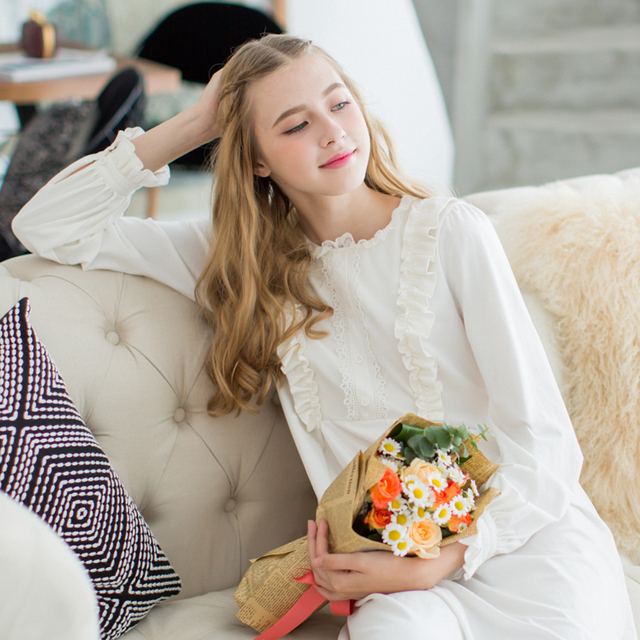 Nightgowns for women cotton Sleepwear Dress Long sleeves Nightgown ...