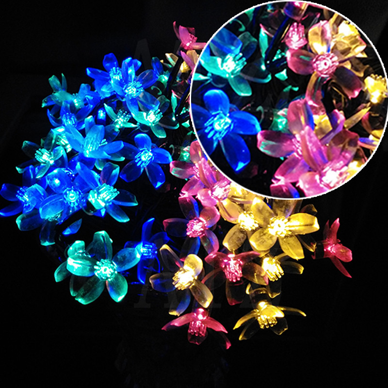 2017 Spring Solar Cherry Floral Pendant LED Party Garland String Lights  Decoration Outdoor Garden Light Luces