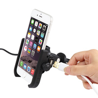 Aluminum Alloy Motorcycle Handlebar Rail Mount Phone Holder Stand with 12 24V 2A USB Charger for 4 6.6 inch Mobile Devices