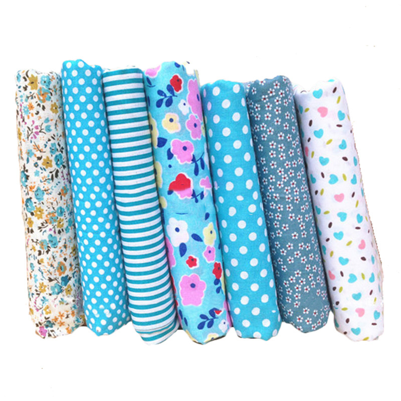 Hoomall 7pcs printed blue cotton fabric diy handmade for Cheap sewing fabric
