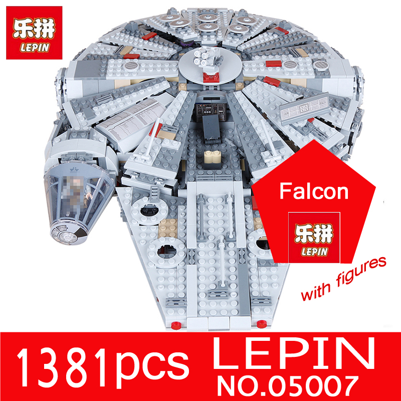 LEPIN 05007 1381Pcs Star Series Wars Millennium Falcon Force Awakening Kit Building Blocks Bricks Children Toys Compatible 10179 lepin 05007 stars series war 1381pcs force awakens millennium toys falcon diy set model building kits blocks bricks children toy