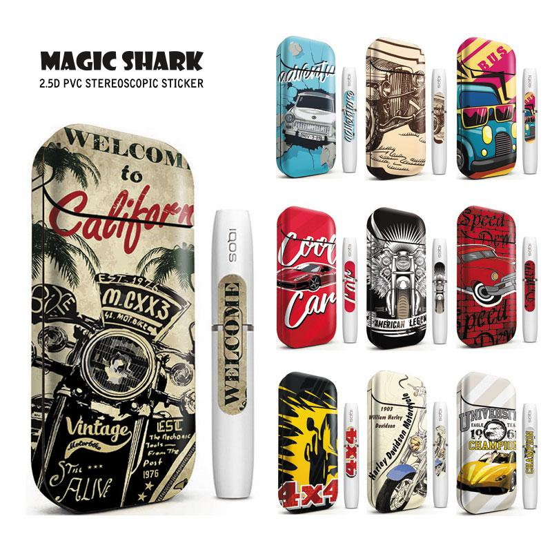 Magic Shark Hot Sale Bumpy Punk Motorcycle Sticker Printing Case Cover Sticker Skin For IQOS 2.4 Plus Electronic Cigarette