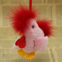 Sheep Skin Toy Wool Ball Pompom Cock Keychains Fur Keyring Fox Fur Rooster Bag Chicken Key
