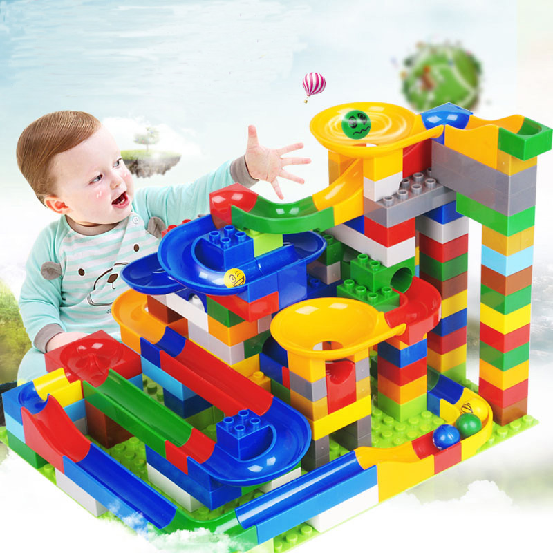 Marble Race Run Maze Ball Track Building & Construction Toys Compatible LegoING Duplo Birthday Gift Educational Toy For Children candice guo plastic toy children block track ball building blocks 74pcs diy maze marble run construction system race deluxe gift