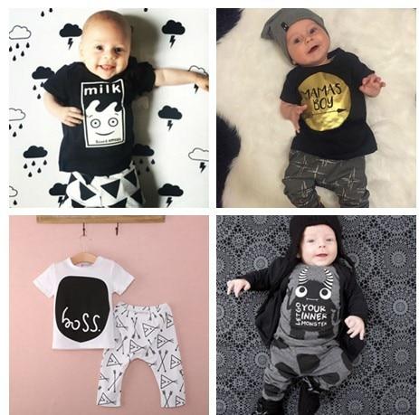 baby boy girl clothes baby clothing set New fashion cotton Letter cartoon plaid O-neck 2pcs T-shirt+pants Newborn baby bebe set