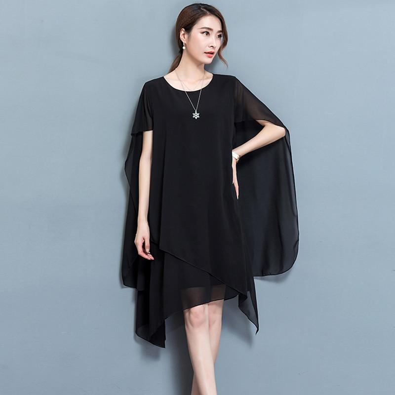 US $16.74 38% OFF|YICIYA Black Chiffon Cape Dress Elegant Formal Dinner  Dresses for Women plus size 4xl 5xl Summer 2019 Cloak sleeves Clothing-in  ...