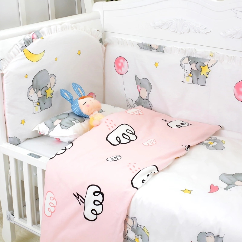9 pcs New Arrival Quality Baby Cot Bedclothes Cotton Baby Full Bedding Set Include Crib Bumpers Bed Sheet Pillow Quilt +Filling