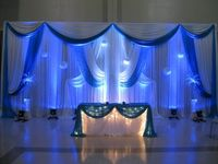 Luxury pure wedding backdrop with royal blue swags stage drapes wedding decoration 3M x 6M
