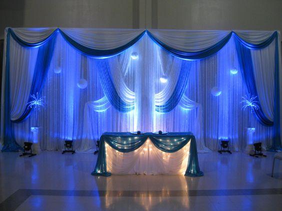 Toile de fond de mariage pure de luxe avec des rideaux de scène bleu royal décoration de mariage 3 M x 6 M