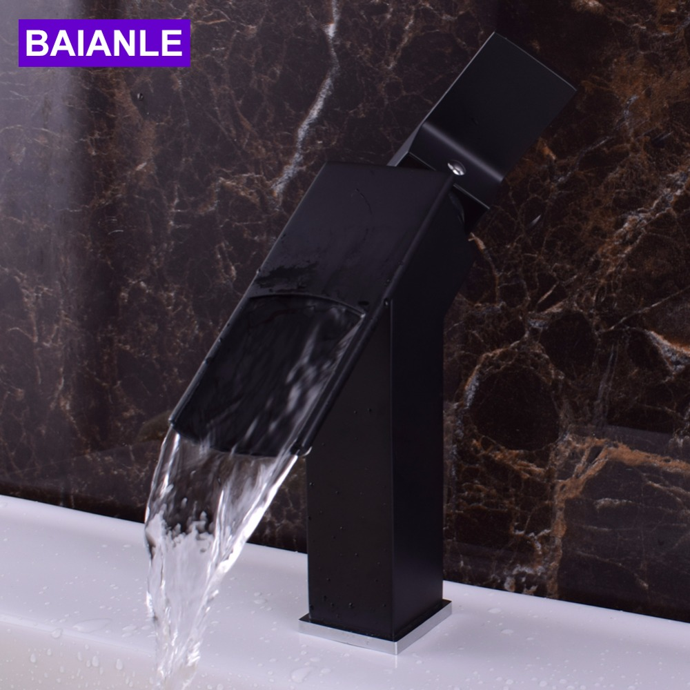Free Shipping Black/Nickel Brushed Deck Mount Waterfall Bathroom Faucet Vanity Vessel Sinks Mixer Tap Cold And Hot Water Tap kemaidi good quality deck mount vanity vessel sinks mixer tap cold and hot water faucet waterfall bathroom faucets