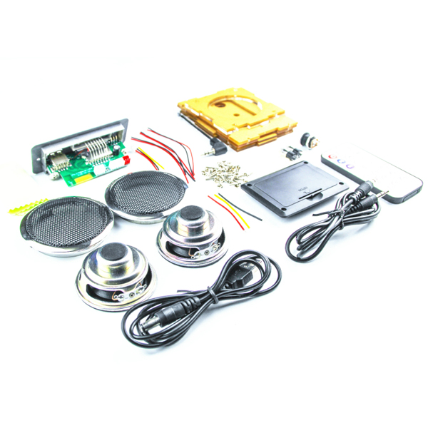 US $19 7 12% OFF|DIY 2x3W Multi function bluetooth Wireless Small Power  Amplifier Speaker Kit With MP3 AUX Radio Function DIY Kit-in Electronics