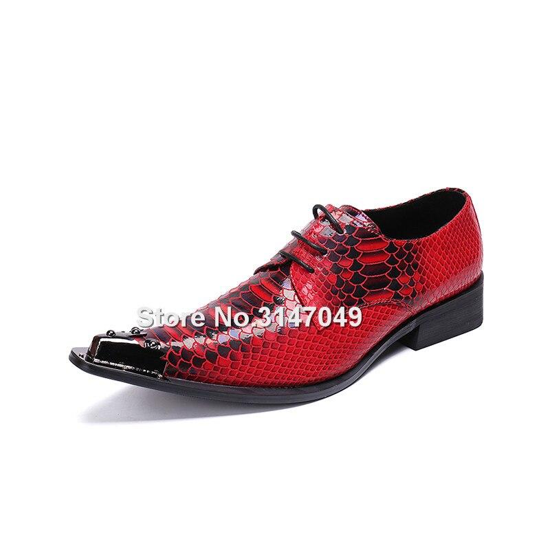 Rivets Pointu Chaussures De À Impression Robe Homme Automne Bout Printemps Métal Rouge Pour Cuir Lace Main Up Hommes Oxford En Mariage La IW9YHbe2ED