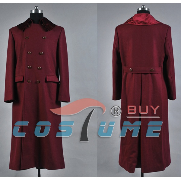 Who is Doctor 4th Doctor Plum Red Long Trench Wool Jacket Cape Coat Halloween Cosplay Costume For Men Custom Made