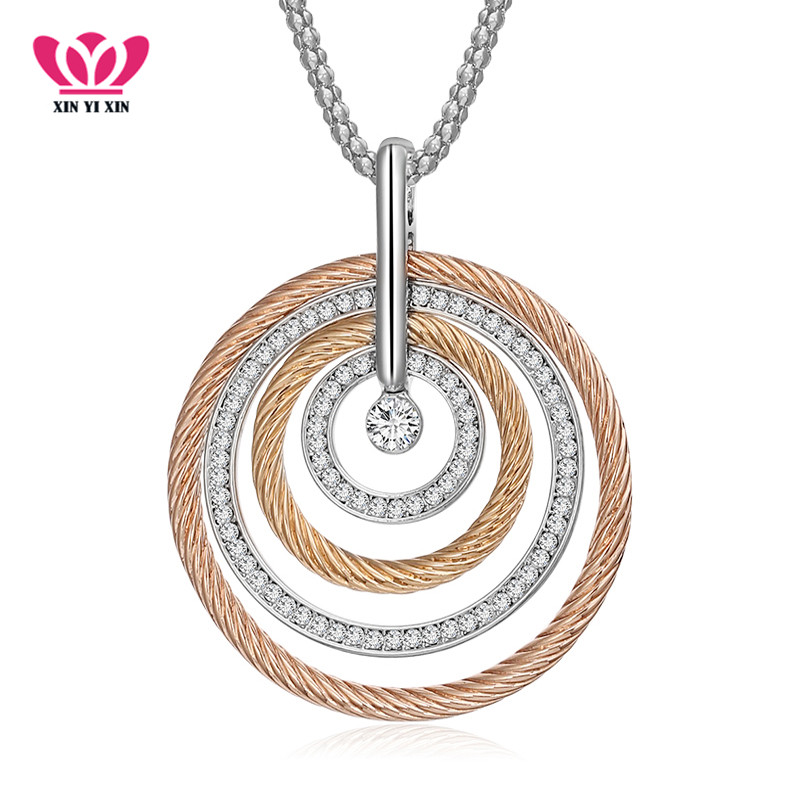 Big Circles Pendant Long Necklace CZ Crystal Gold Silver Colors Women Popcorn Chains Sweater Necklace collar mujer Jewelry Gifts stylish 7 hollow stereo circles pendant necklace