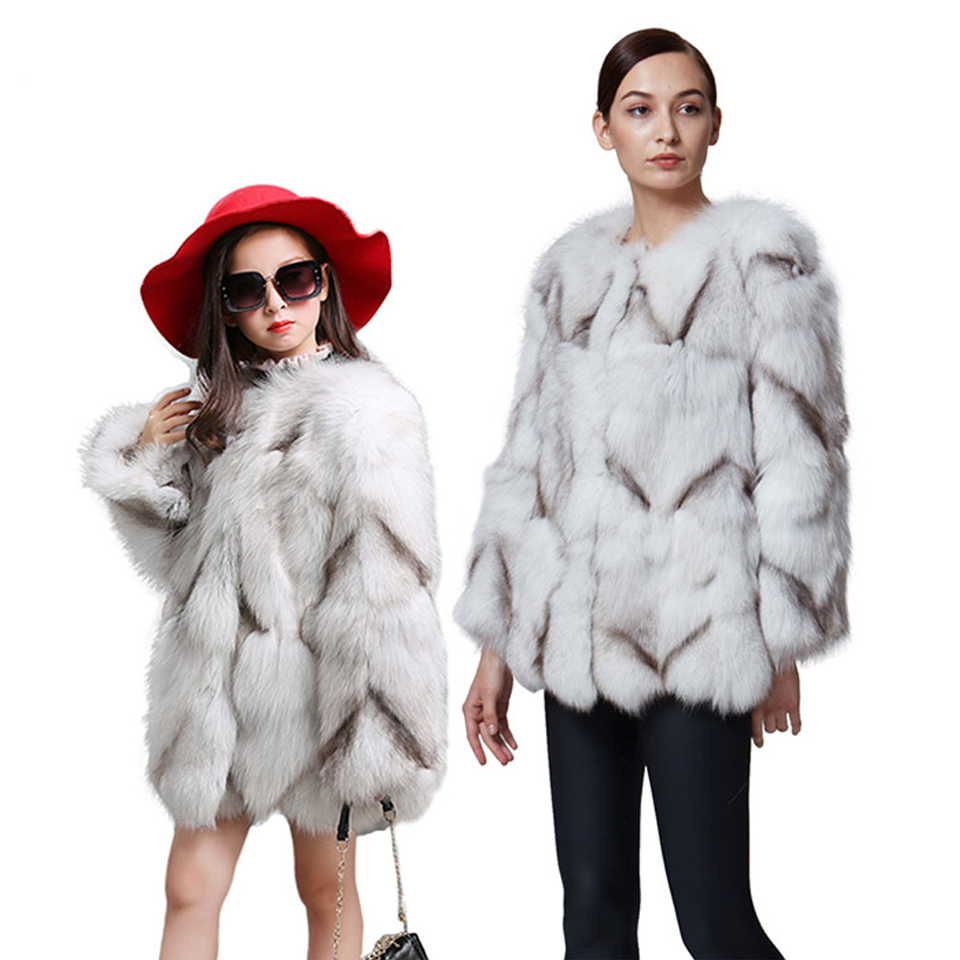 Parent-Child Outfits Natural Fox fur Mother and Kids Coat  2017 Winter Warm Thick  Family Matching Outfits Real Fur Coat  C#12
