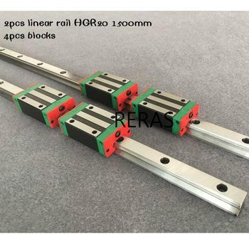 20MM 2pcs linear rail HGR20 1500mm cnc parts and 4pcs 20MM HGH20CA or HGW20CC linear guide rails block HGW20CC hgh20 cnc router