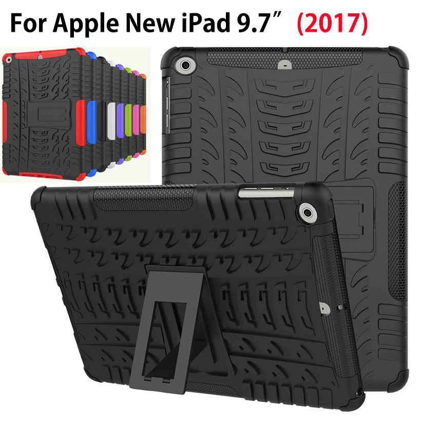Funda para Apple iPad 9.7 2018 2017 5ta generación A1822 Cubierta Heavy Duty 2 en 1 Híbrido Durable Funda para tableta Funda