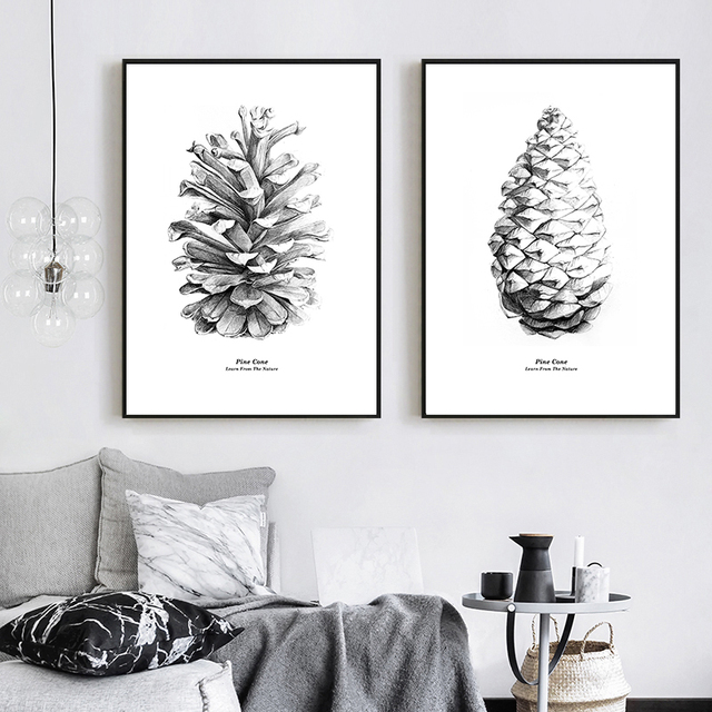 Nordic Black white Pine Cone Natural Poster and Prints  1