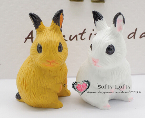 Cute mini resin rabbit couple figure,styling home room decoration,baby bunny pot collection article Christmas birthday gift toy