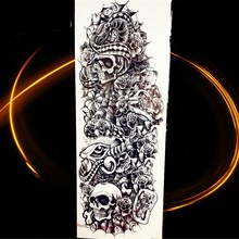 25 Pattern Skull Snake Waterproof Tattoo Sticker Full Flower Arm Body Art Sleeve Black Rose Flower Temporary Tattoo Men HQB-021(China)