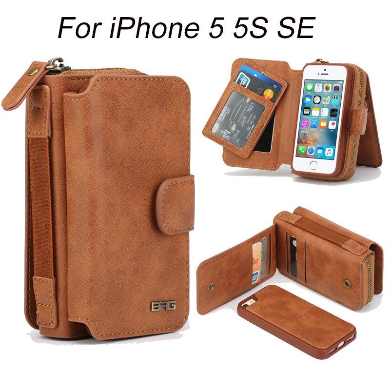 bilder für Für iPhone 5 S Fall Multifunktions reißverschluss 2 In 1 Abnehmbare Handtasche für iPhone Abdeckung 5 5 S SE Geldbörse Handytasche fällen