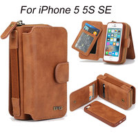 Voor iPhone 5 S Case Multifunctionele rits 2 In 1 Verwijderbare Handtas voor Cover iPhone 5 5 S SE Portemonnee Portemonnee Pouch Mobiele Telefoon gevallen