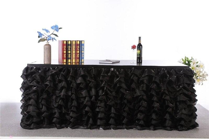 3 yards/pcs 2017 personnalisé fête Table jupe Tulle Tutu Table plinthe pour mariage anniversaire bébé douche Table décorations