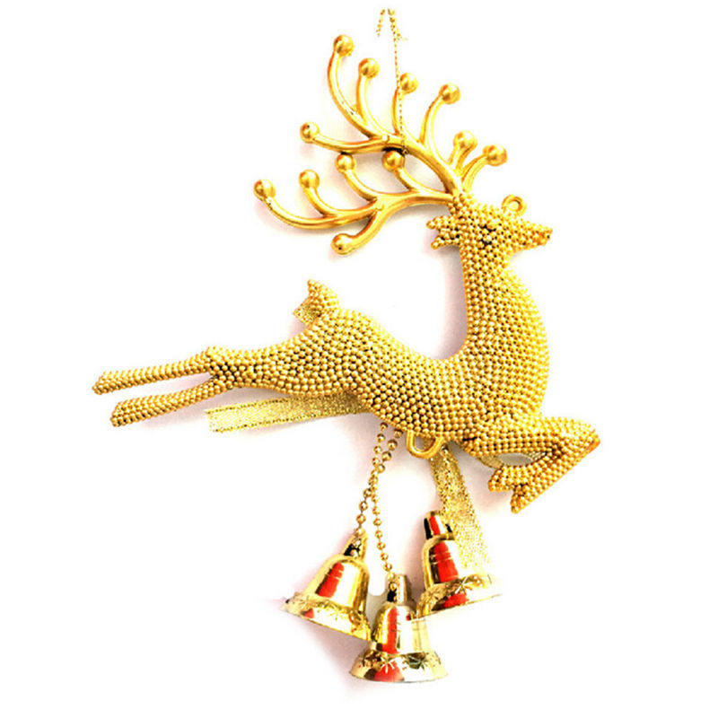 1pcs deer bell for tree hanging baubles gold sliver color christmas ornaments festival party xmas tree hanging decoration in christmas bells from home - Gold Christmas Ornaments