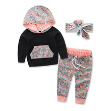 купить Children Clothing 2018 Autumn Winter Girls Clothes Hoodies+Pants+Headband Kids Costume Boys Clothes Sport Suit For Baby Girls онлайн