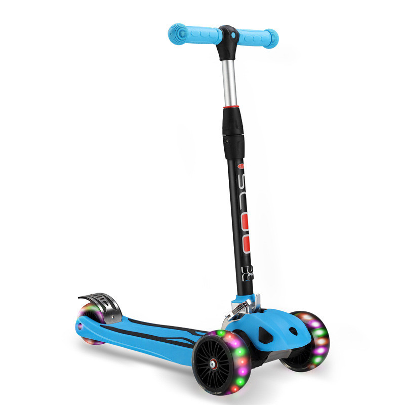 Kids Scooter - Deluxe 3 Wheel Glider with Kick n Go Lean 2 Turn easy ride kids 2 pedal scooter dual pedal scooter double pedal scooter with brake and musical light and safety helmet 7 safer