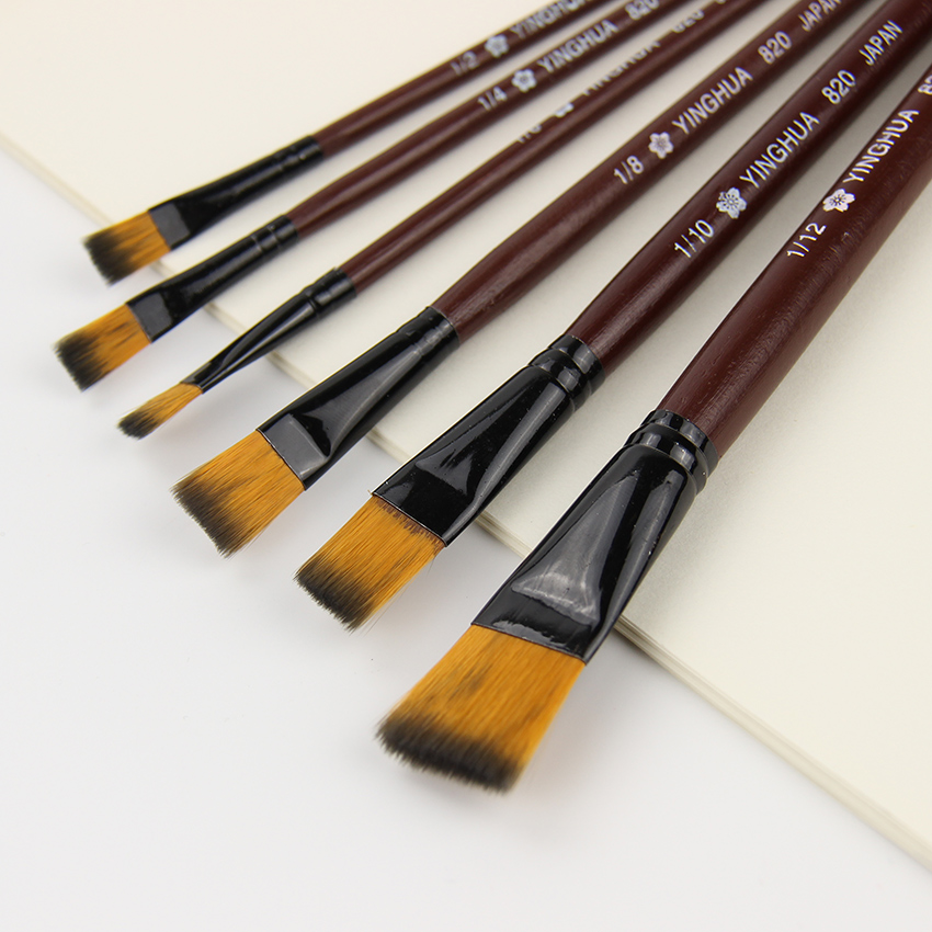 6 PCS/Set  New Arrived Nylon Hair Pen Set Wooden Handle Kids Gouache Oil Painting Brush Drawing Painting Teaching Tools