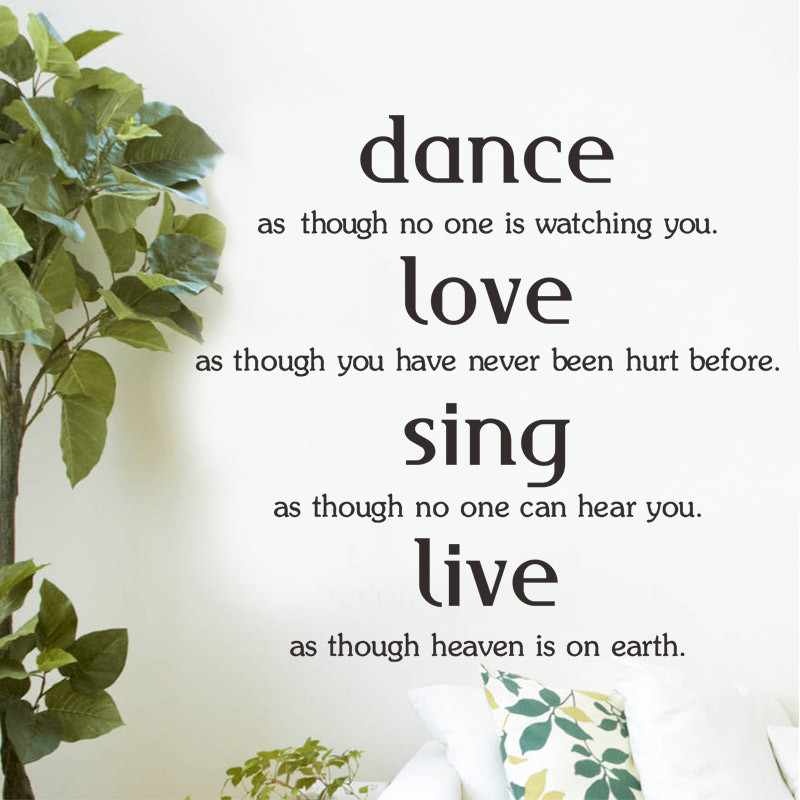 Dance Love Sing Live Inspiring Quote Wall Stickers Home Decor Living Room Vinyl Family Lettering Words Wall Decals Diy Wallpaper Wall Stickers Aliexpress