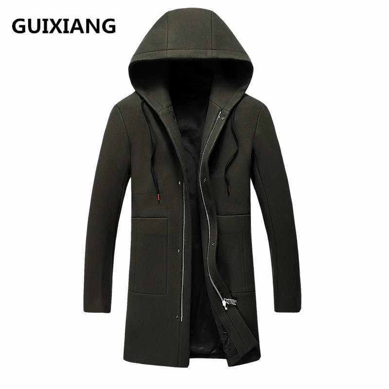 2017 Winter new style hooded coats Men's fashion trench coat jacket Men's casual trench jackets woolen coats men windbreak