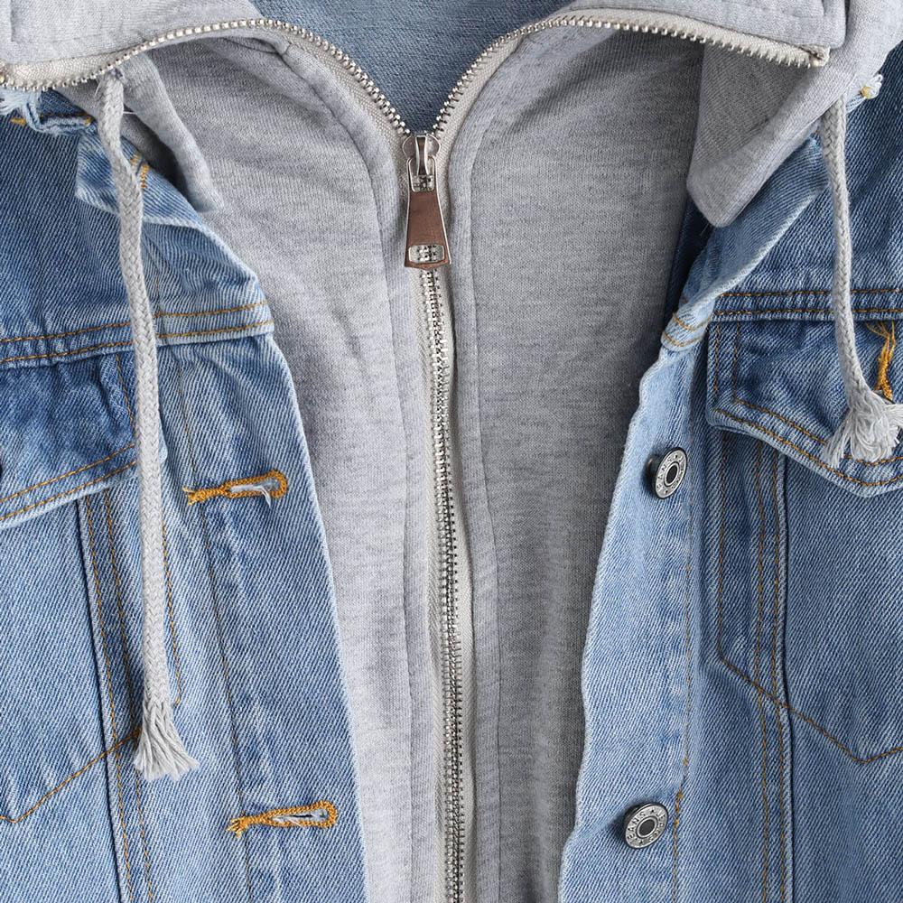 Effiloché Blue Up Capuche Solide Automne Veste À Plein Denim Zip q1Sx6BwA