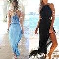 Mejor precio mujeres sexy halter backless largo dress gasa vestido de verano summer beach dress