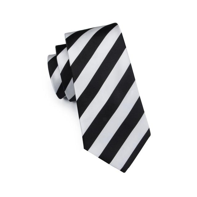 SN-276 White Black Striped Silk Tie Set Handkerchief Cufflinks Sets Men's 100% Silk Ties for Men Formal Wedding Party Groom Tie 3
