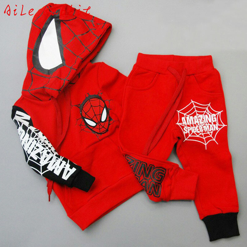 3-7T Autumn Spiderman Children Clothing Set Boys Spider Man Sports Suits Clothes Set Hoodie Jacket + Pants Kid Spiderman Costume
