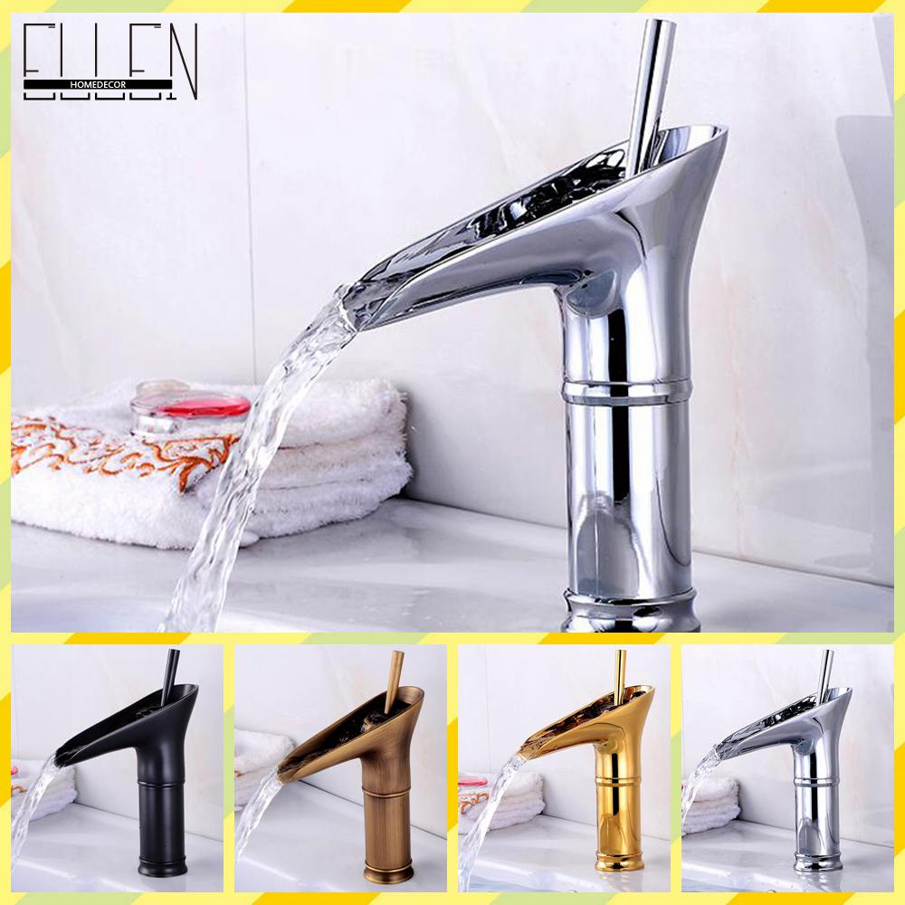 ФОТО Bathroom Sink Faucet Modern Open Spout Water Tap Bathroom Vessel Sink Faucet Antique Brass Chrome Faucet
