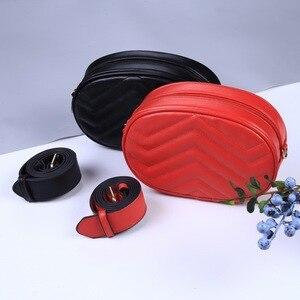 Поясная сумка, поясная сумка, круглая поясная сумка, Женская Роскошная брендовая кожаная сумка, красная, черная, бежевая, лето 2019, высокое ка...