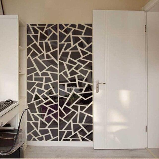 Diy Besar Geometri Teka Teki Kristal Akrilik Dinding Dekor Seni Cermin Stiker Rumah