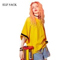 ELF SACK 2018 Summer Prints Tee Shirts Womens Oversize Wide Hole Tops Women Tees Harajuku Striped