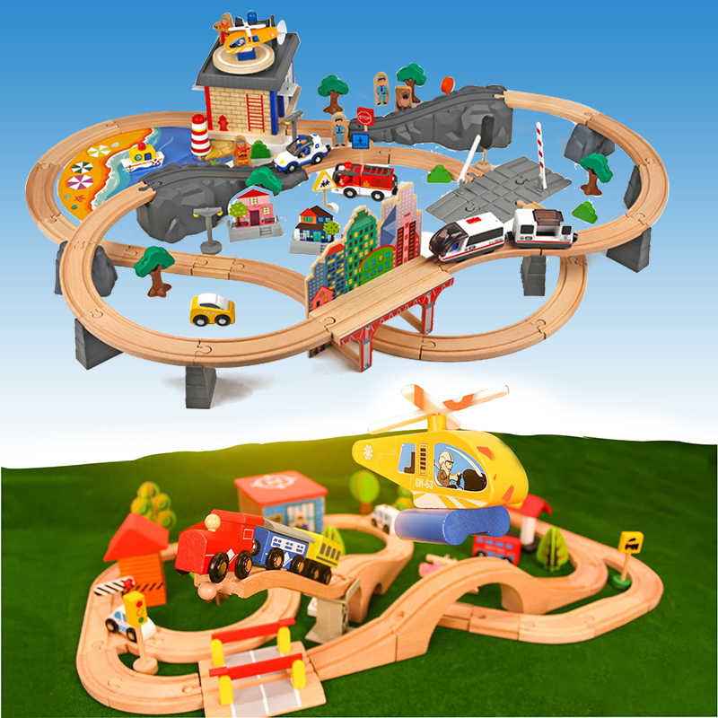 Usual Wooden Railway Straight and Curved Expansion Track Take-n-Play Motorized Electric Train Track Toys Birthday Present