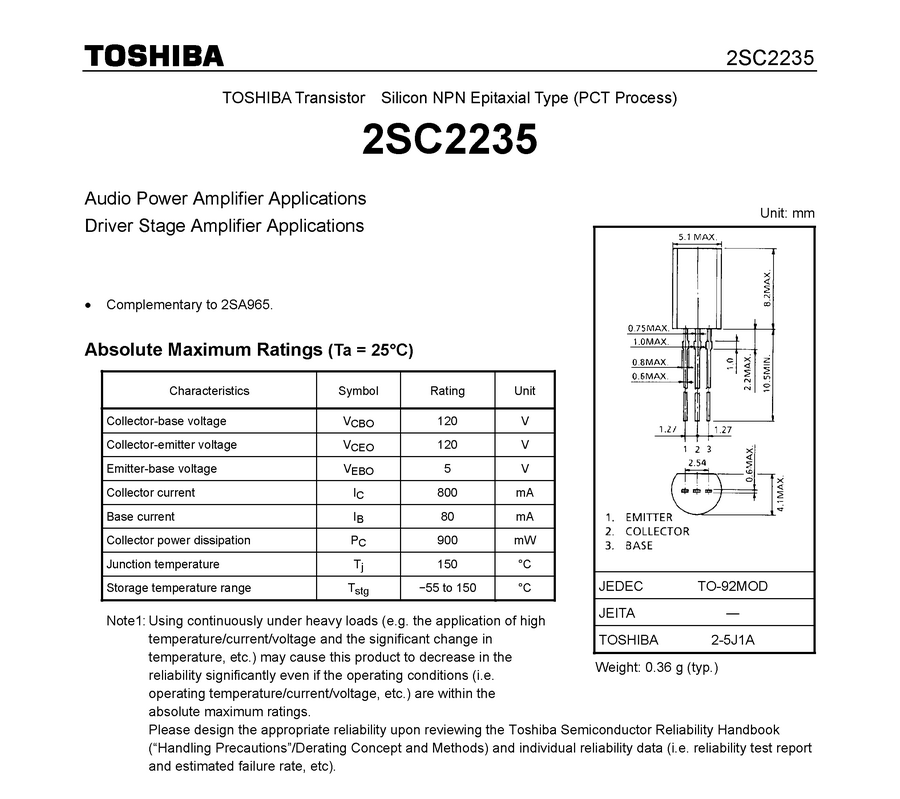 "2SC2235 /""Original/"" Toshiba Transistor 2 pcs"